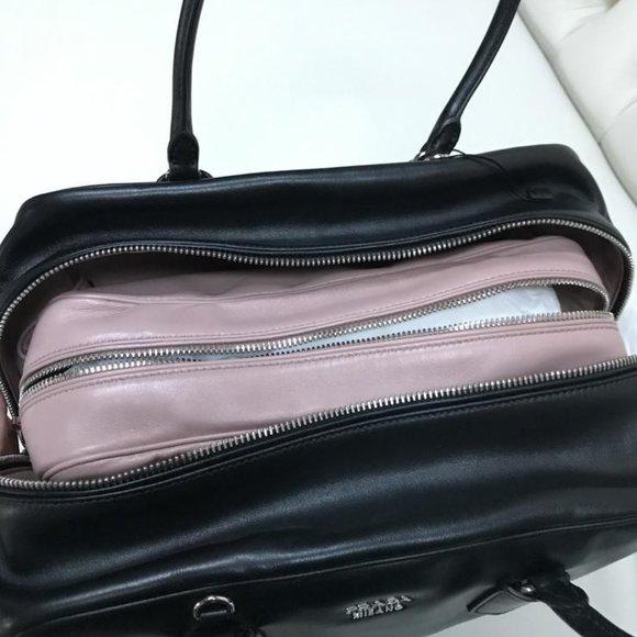 Prada Handbags - Prada Inside Bag Black Soft Calfskin Leather